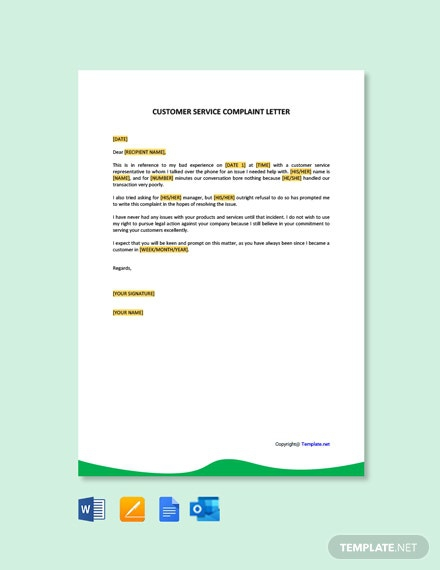 Free Simple Customer Service Complaint Letter Template