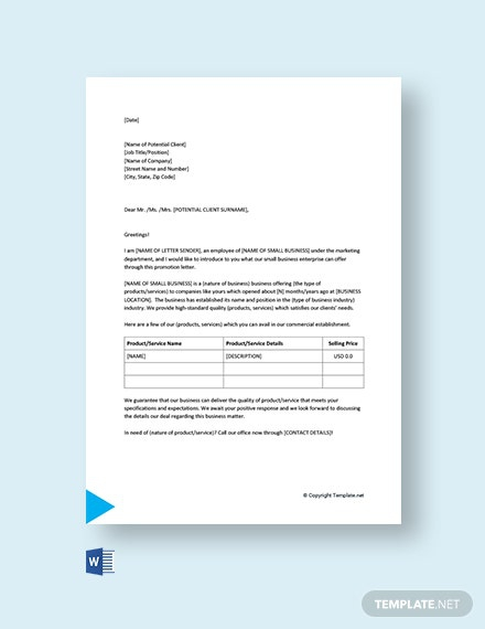 Free Small Business Promotion Letter Template