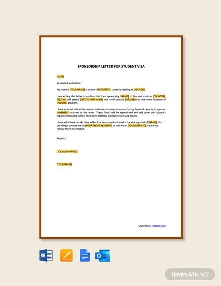 Free Sponsorship Letter For Student Visa Template