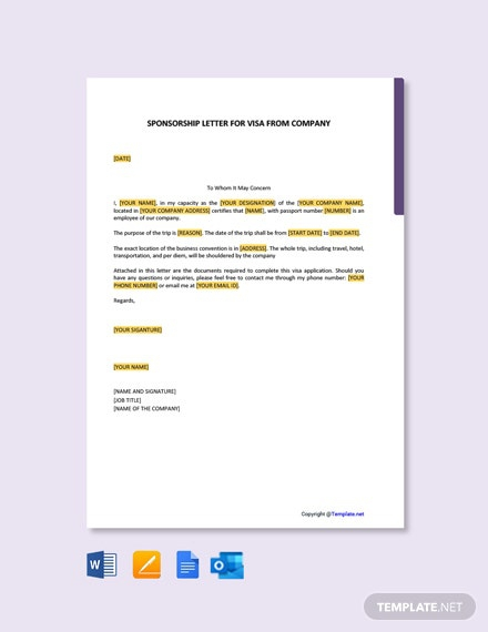Free Sponsorship Letter For Visa From Company Template