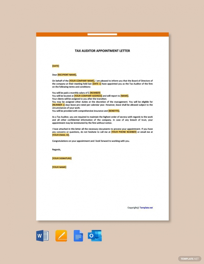 Free Tax Auditor Appointment Letter In