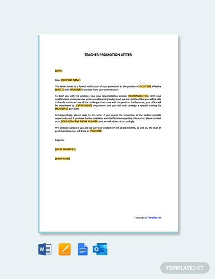 Free Teacher Promotion Letter Template
