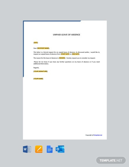 Free Unpaid Leave Of Absence Letter Template