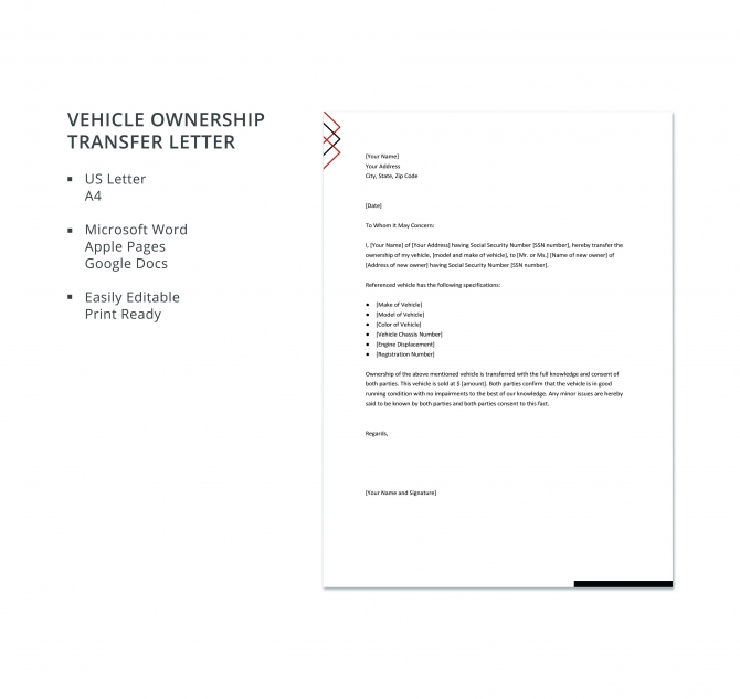 Free Vehicle Ownership Transfer Letter