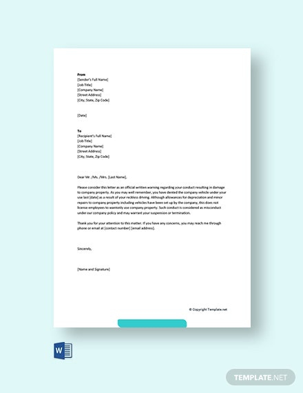 Free Warning Letter For Damaging Company Vehicle Template