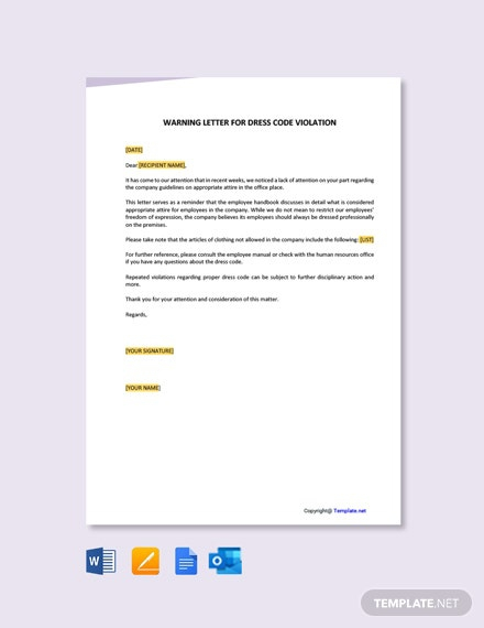 Free Warning Letter For Dress Code Violation Template