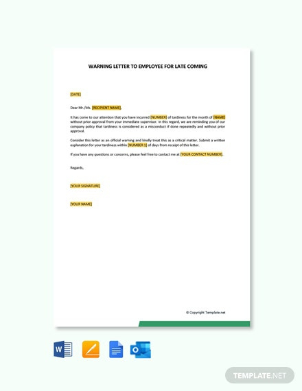 Free Warning Letter To Employee For Late Coming Template