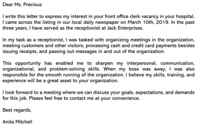 Front Desk Cover Letter Sample   Email Example Writing Tips