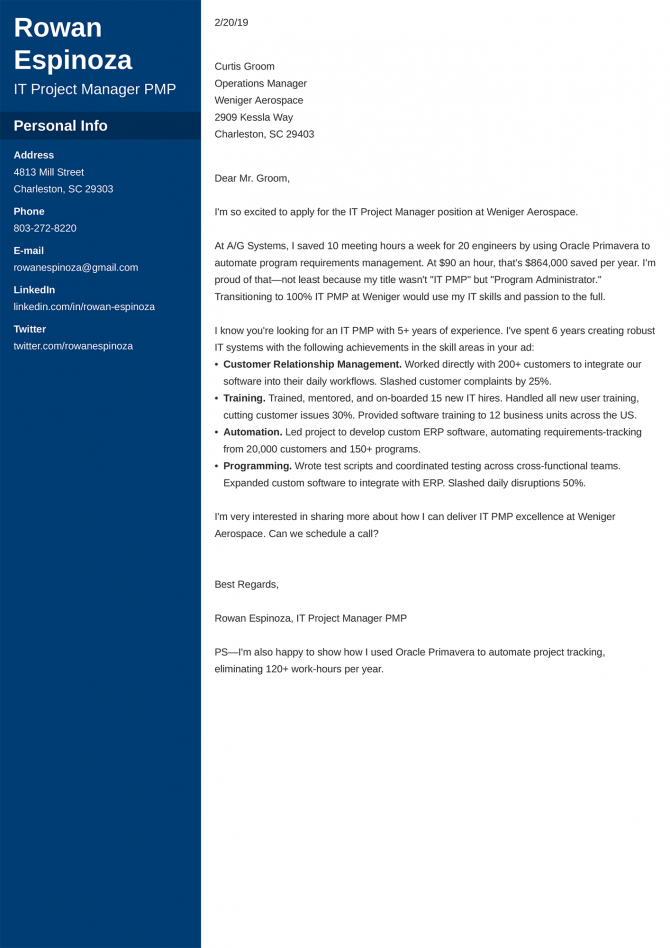 Good Cover Letter Examples For Job Application Free