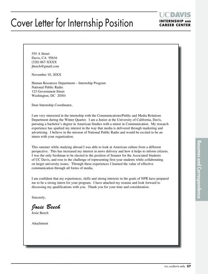Graduate Internship Job Application Letter