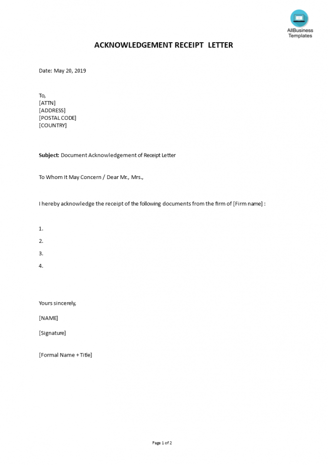 Gratis Document Acknowledgement Of Receipt Letter