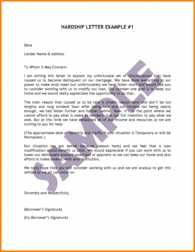 Hardship Letter Samples  Writing An Effective Hardship Letter