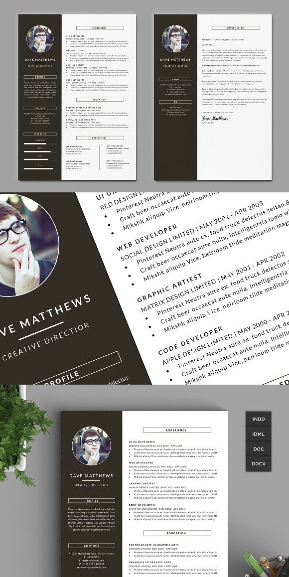 Hipster Resumecv With Cover Letter