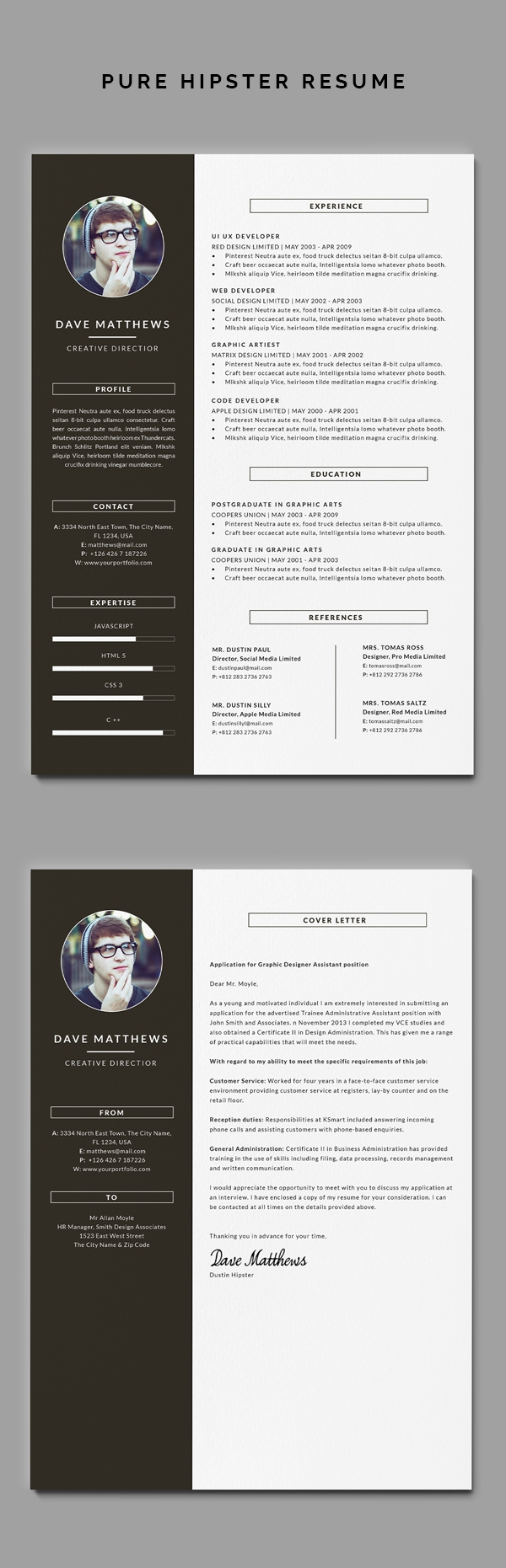 Hipster Resumecv With Cover Letter On Behance