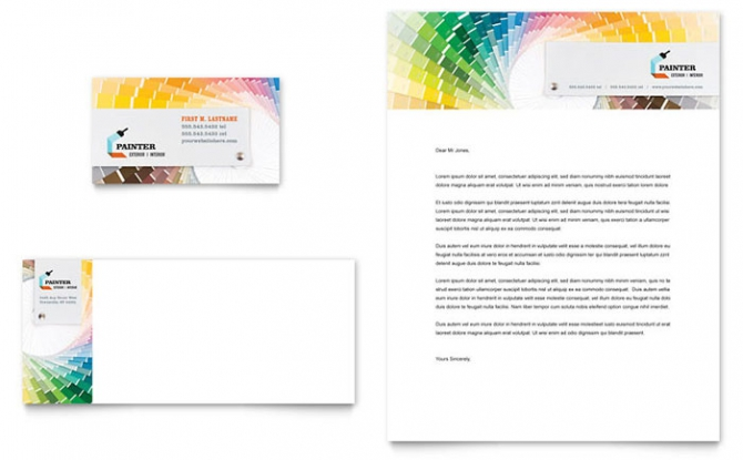 House Painting Contractor Business Card   Letterhead Template Design