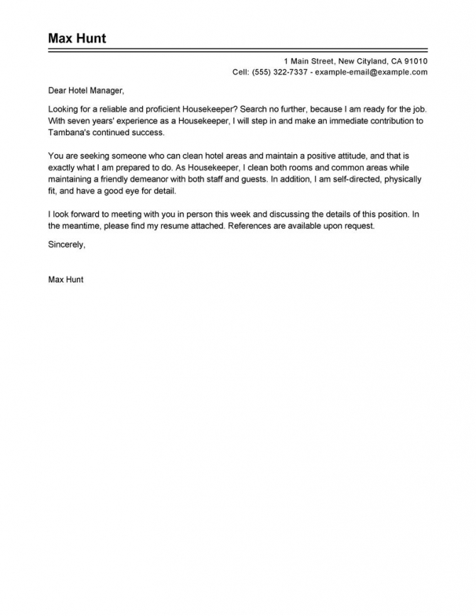 Housekeeper Cover Letter Example Tips