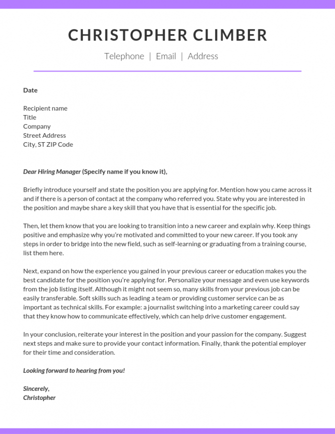 How To Write A Career Change Cover Letter