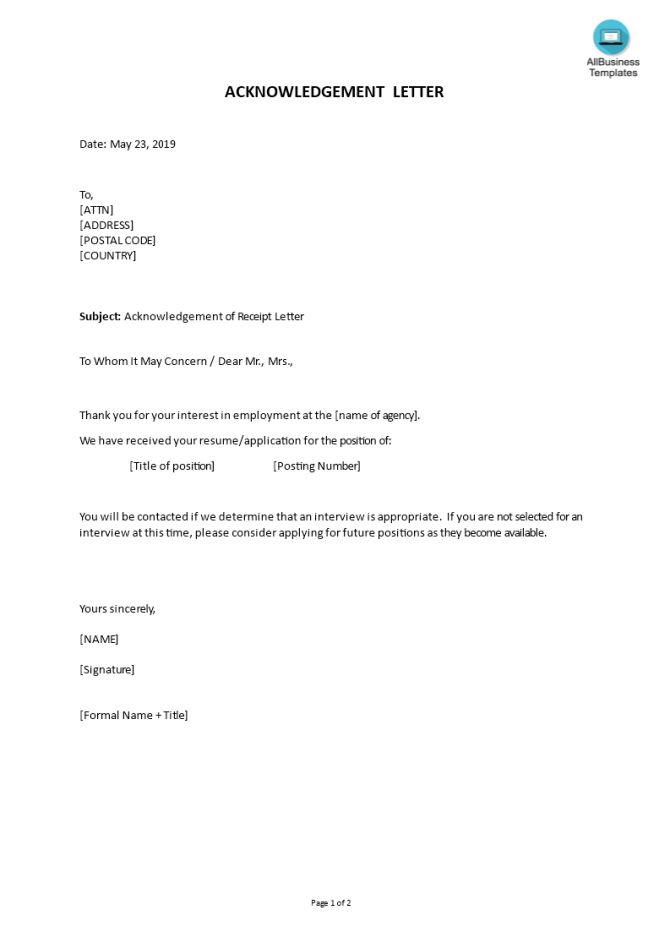 How To Write A Formal Application Acknowledgement Letter Download