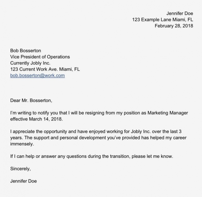 How To Write A Simple Resignation Letter Template   Sample Doc