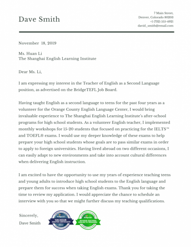 How To Write A Tefl Cover Letter With Sample