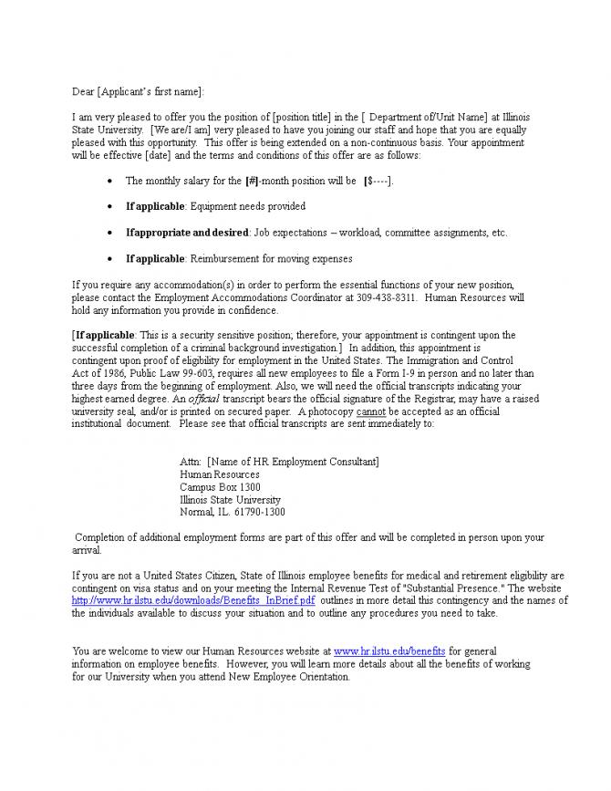 Hr Consultant Offer Letter