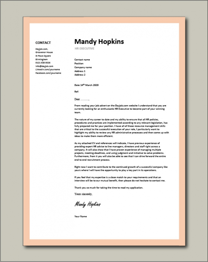 Hr Executive Cover Letter   Sample  Human Resources  Recruitment
