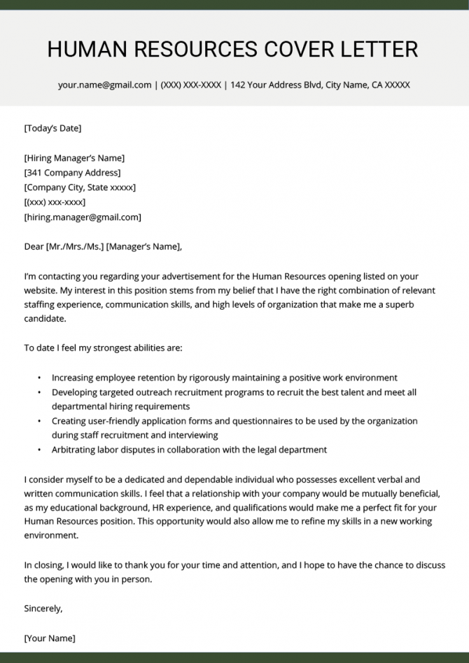 Human Resources Hr Cover Letter Example Template