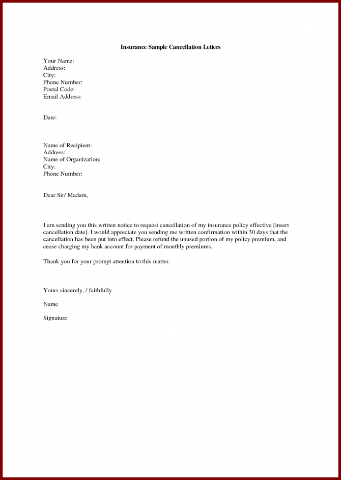 Insurance Cancellation Letter Life Write Sample Cover Templates