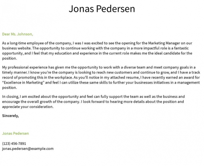 Internal Position Cover Letter Examples  Samples   Templates