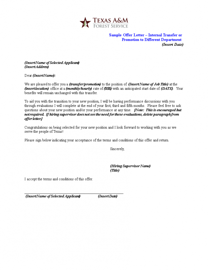 Internal Promotion Offer Letter