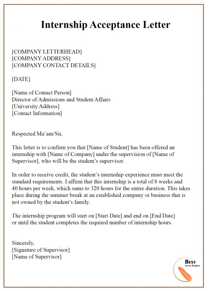 Internship Acceptance Letter Example