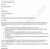 Internship Acceptance Letter From Company To Student