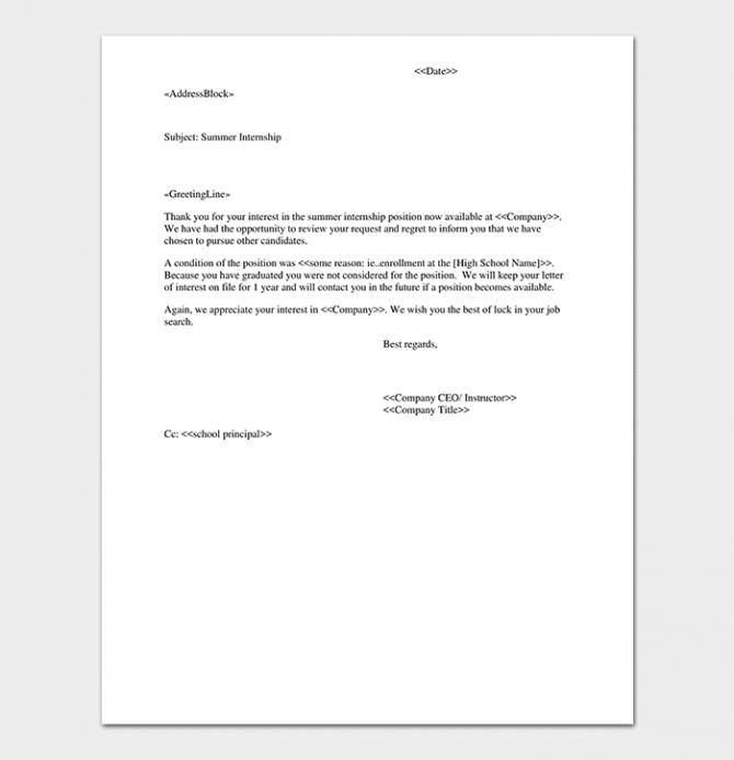 Internship Rejection Letter  Sample Letters   Format