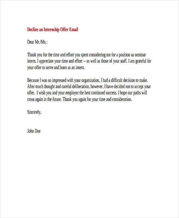 Internship Rejection Letter Templates