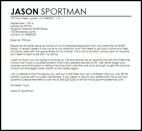 Internship Resignation Letter Example