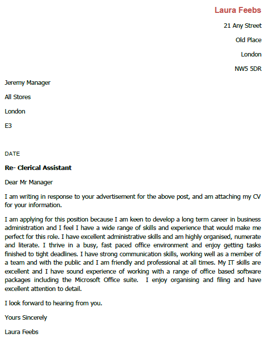 Job Application Letter For Clerical Assistant