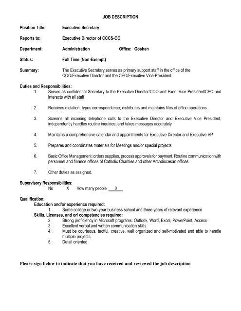 Job Description Position Title Executive Secretary Reports To