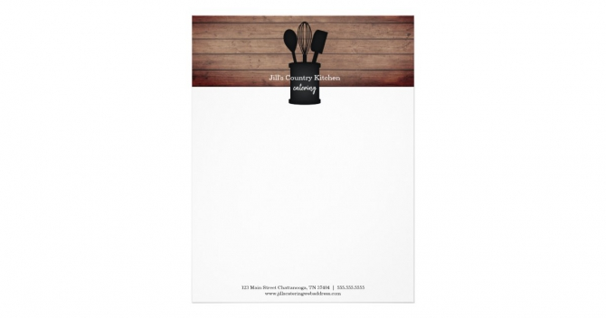 Kitchen Crock Rustic Wood Caterer Restaurant Food Letterhead