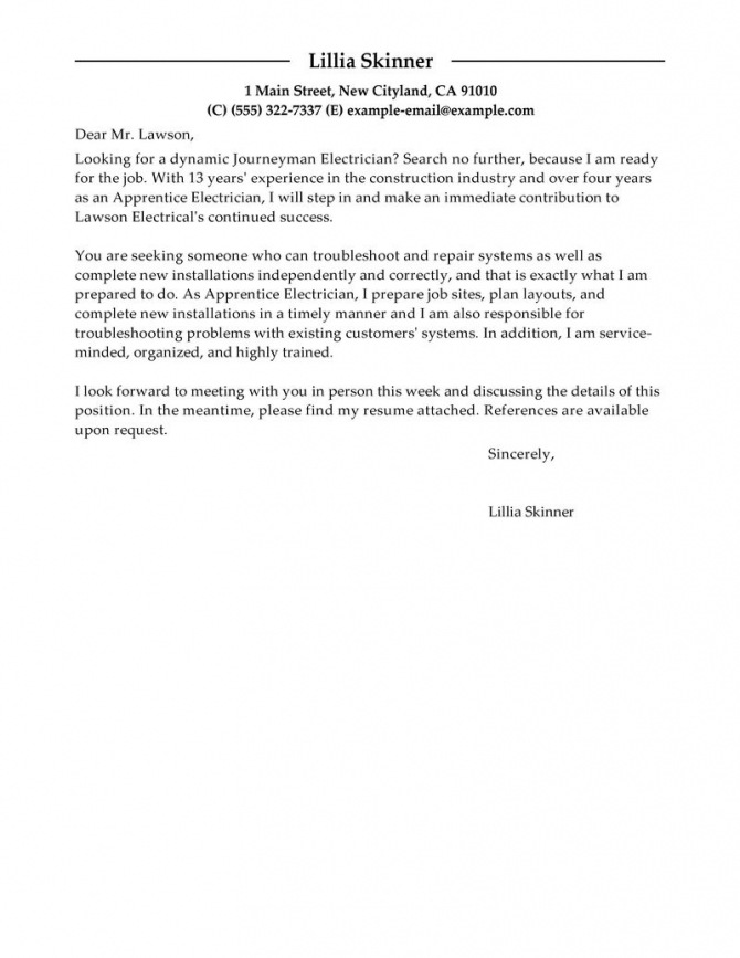 Leading Professional Apprentice Electrician Cover Letter Examples