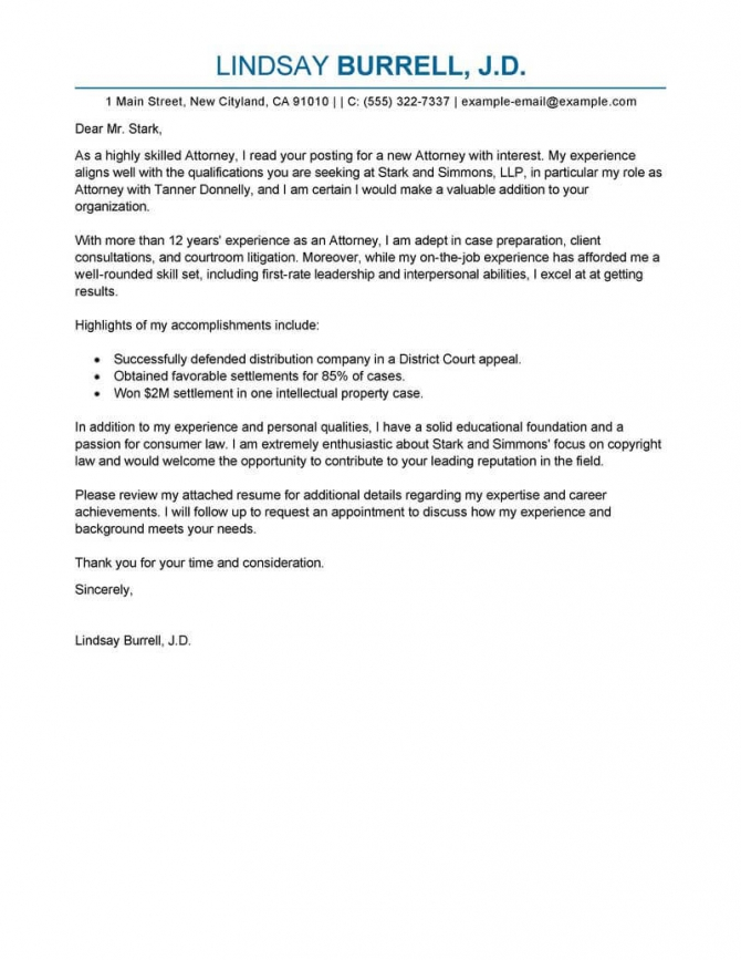 Leading Professional Attorney Cover Letter Examples   Resources