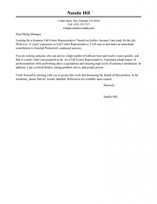 Leading Professional Call Center Representative Cover Letter