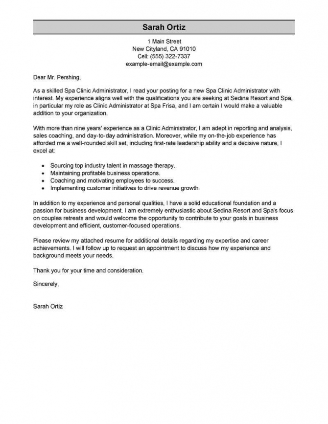 Leading Professional Clinic Administrator Cover Letter Examples