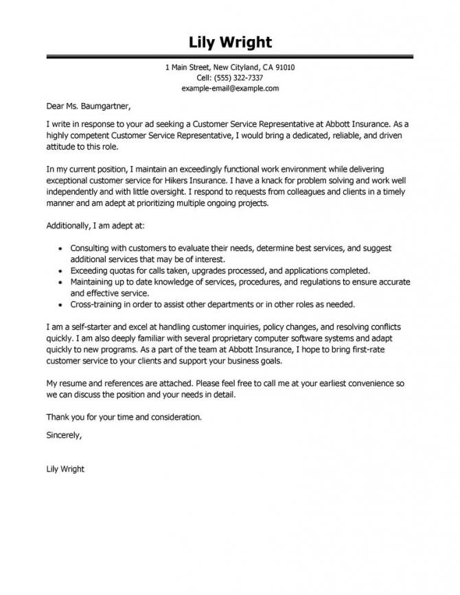Leading Professional Customer Service Representative Cover Letter