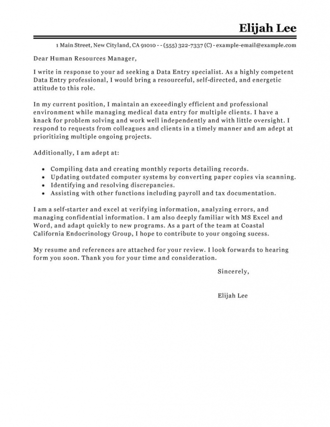 Leading Professional Data Entry Cover Letter Examples   Resources