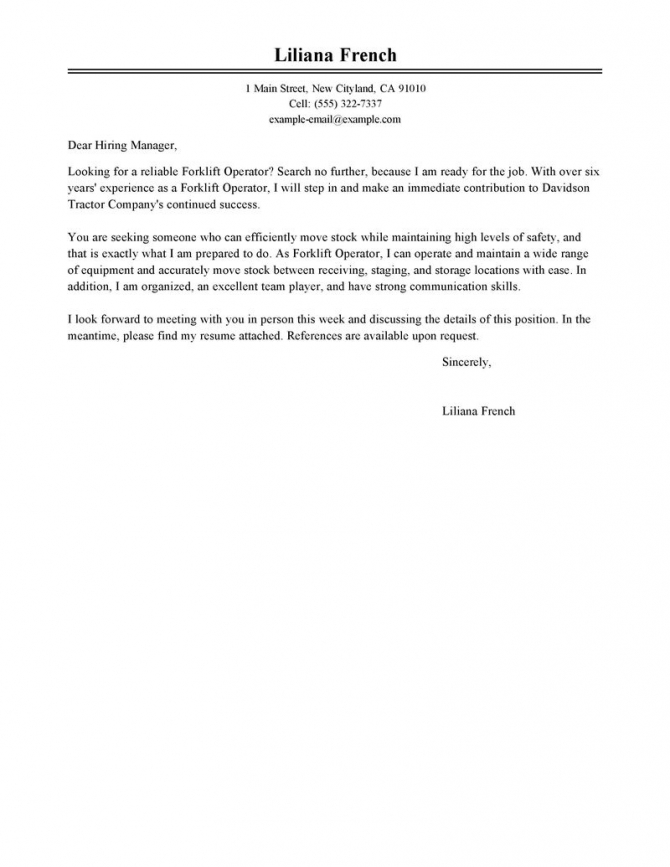 Leading Professional Forklift Operator Cover Letter Examples