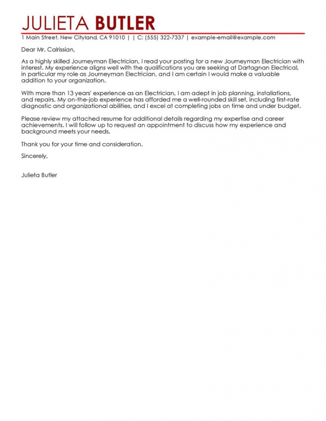 Leading Professional Journeymen Electricians Cover Letter Examples