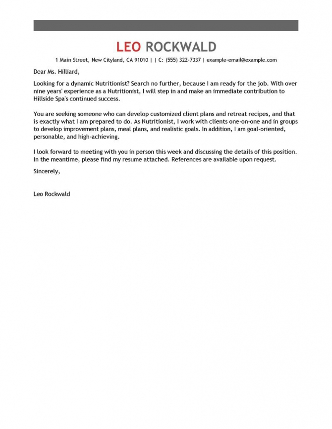 Leading Professional Nutritionist Cover Letter Examples