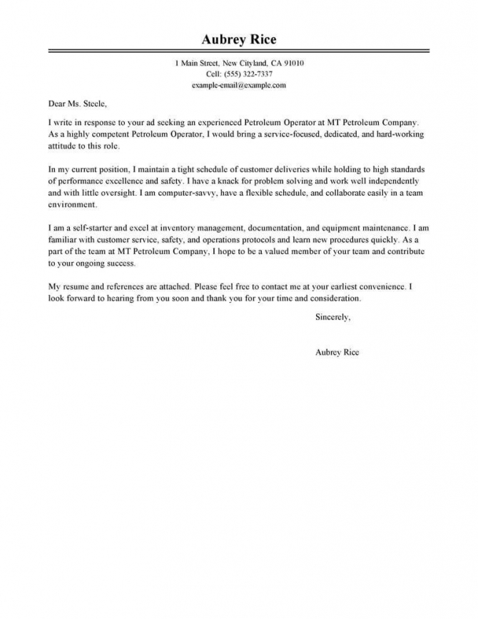 Leading Professional Petroleum Operator Cover Letter Examples