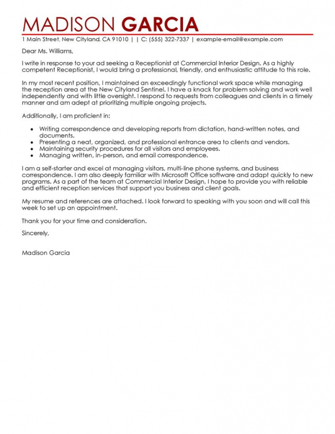 Leading Professional Receptionist Cover Letter Examples