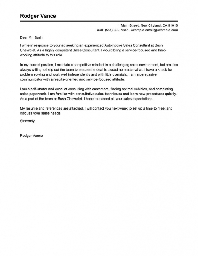 Leading Professional Sales Consultant Cover Letter Examples